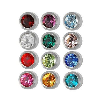 Ear Piercing Earring Studs Mini Assorted Colors White Surgical Steel 12 Pair