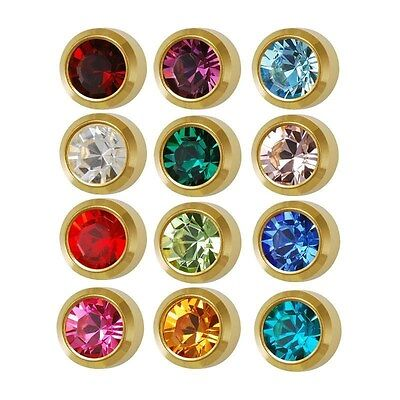 Caflon Ear Piercing Bezel Earrings Studs 3mm Assorted Colors Gold Plated 12 Pair