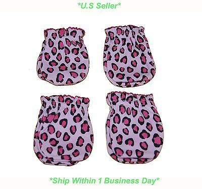 4 Pairs Cotton Newborn Baby/infant Girl Anti-scratch Mittens Gloves - Leopard