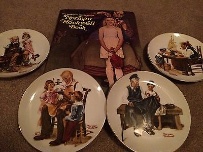 Norman Rockwell Collectors Gift Pack - 4 Plates and Book Set