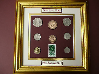PERSONALISED FRAMED 1960 BRITISH OLD COINAGE SET 57th BIRTHDAY GIFT IN 2017