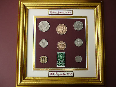 PERSONALISED FRAMED 1960 BRITISH OLD COINAGE SET 58th  BIRTHDAY GIFT IN 2018