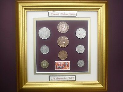PERSONALISED  FRAMED 1963 COIN SET 54th  BIRTHDAY ANNIVERSARY GIFT IN 2017