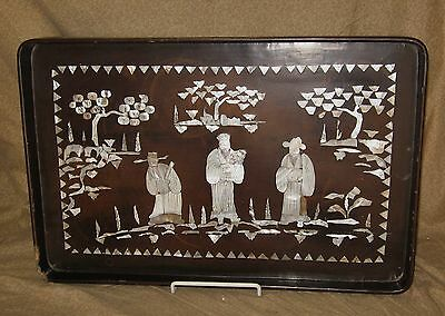 Antique Asian Oriental Lacquer Tray Possibly Korean ? Chinese ? Japanese ? as-is