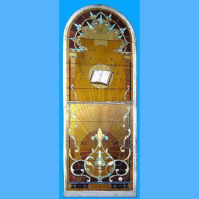 Beautiful Antique 4 1/2' x 12' Stained Glass Window w/Bible In Top Section