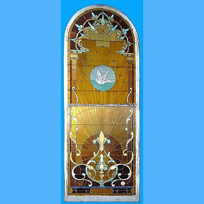 Beautiful Antique 4 1/2' x 12' Stained Glass Window w/Dove In Top Section