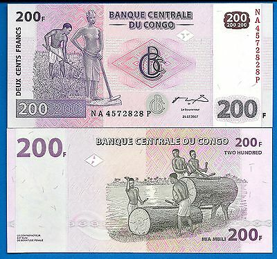 Congo P-99 200 Francs Farmers Year 2007 Uncirculated Banknote Africa