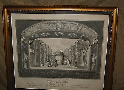 Antique Dutch Engraving Print Theater Stage Subject 18th Century
