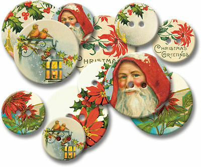 JBS Chipboard Buttons-VINTAGE CHRISTMAS scrapbooking (12) Buttons (2) Sizes