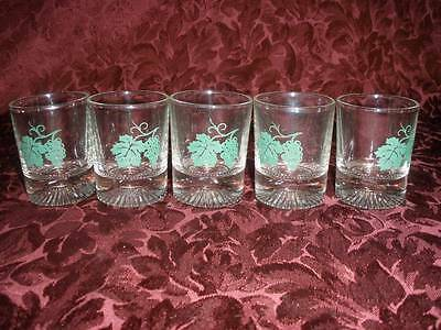 Retro  Heavy Glass  Sherry  Glasses X 5 With Motif