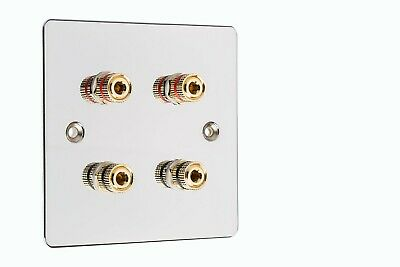 4 Post Speaker Wall Face Plate Solder-less Polished Mirror Chrome