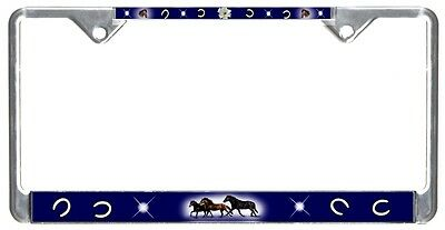 Horses License Plate Frame Gift Girls Ladies Horseshoes Flower Metal Lily Blue T