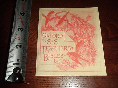 BR310 RARE Vintage Victorian Oxford S.S. Teachers Bibles Price List Ad