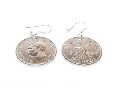 1948 70th birthday lucky sixpence earrings - WOW great gift idea