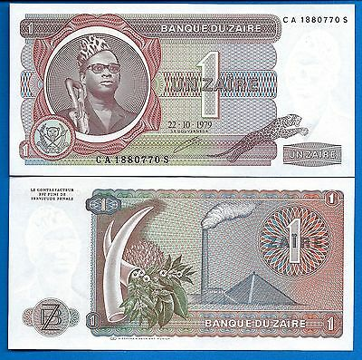 Zaire P-19A, One Zaire Year 5.22.1979. Uncirculated Banknote Africa