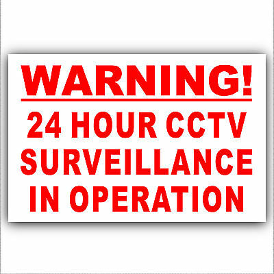 Warning 24 Hour CCTV Surveillance In Operation Security Stickers Signs-1 or 6