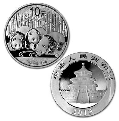 2013 1 Oz Chinese Giant Panda GEM BU 999 Silver Uncirculated Coin