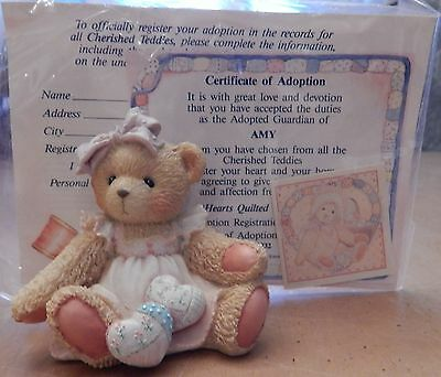 Cherished Teddies Amy Hearts Quilted With Love Figurine