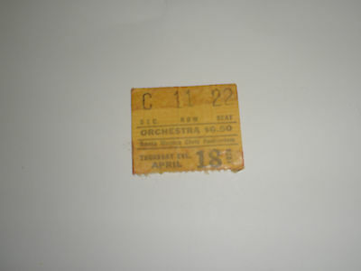 JEFFERSON STARSHIP / SANTA MONICA CIVIC AUDITORIUM ~ Ticket Stub April 18, '74
