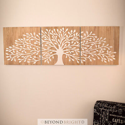 TREE OF LIFE Wooden Timber Hand Carved Wall Art Mangowood Carving Print Triptych