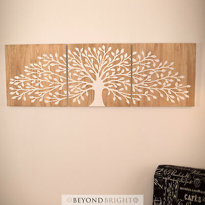 TREE OF LIFE Wooden Timber WHIT Carved Wall Art Mangowood Carving Panel Triptych
