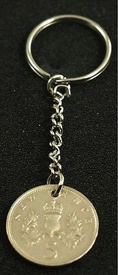 1975 43rd Birthday Old 5p coin keyring - 43rd birthday gift coin