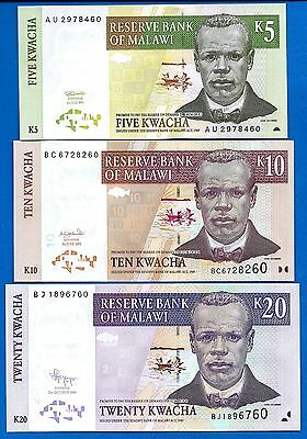 Malawi 5,10,20 Kwacha Uncirculated Banknote Set # 2 FREE SHIPPING