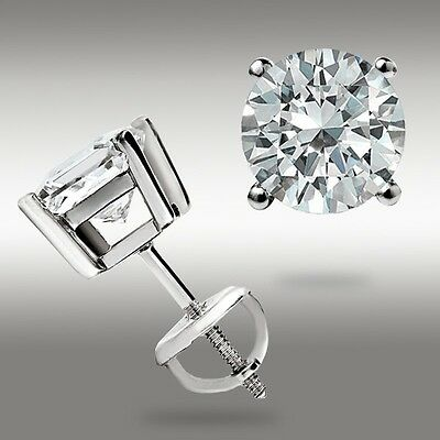 1.00 Ct. Round 14k White Gold Stud Earrings w/Screw back Pierced 5mm Great Deal