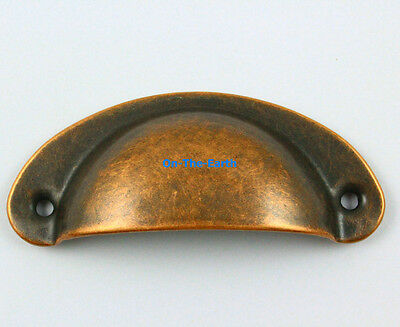 20 Pieces Antique Copper Furniture Handle Cabinet Knob Drawer Shell Pull 82x35mm