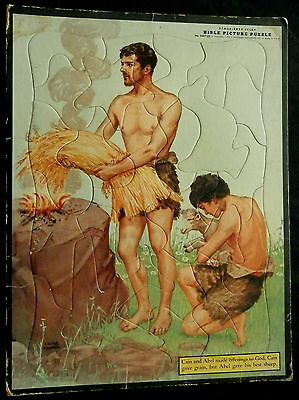 1953 BIBLE PICTURE PUZZLE Frame Tray Inlay CAIN & ABEL by LAJOS SEGNER