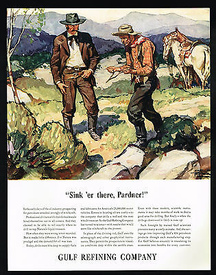 1935 Gulf Oil Refining Prospecting Professional Diviner Wands Art Ad