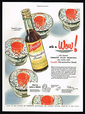 1950 French's Worcestershire Sauce Tomato Juice Cocktail Print Ad