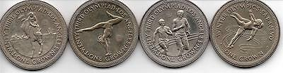 Set of 4x Los Angeles 1984 Olympic Isle Of Man 1984 Crown Coins In Plastic Cases