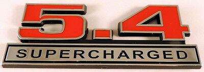 Mustang Shelby GT500 Red 5.4 Supercharged Emblem Badge with Chrome Trim Pair