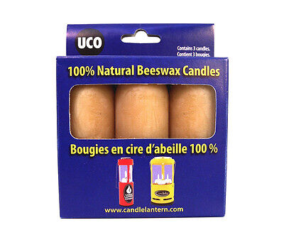 UCO 3-pack 100% Natural Beeswax Candles- 12-15 hour Burn Time -Made in USA