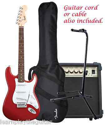 Fender Guitar Squire Bullet w/ Tremolo Gig Bag, Amp, Guitar Stand + Guitar Cord