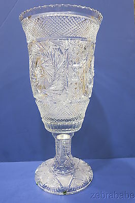 Large Cut Glass Footed Vase  Signed 17""