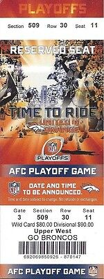 2013-14 Nfl Afc Divisional Playoffs Chargers @ Broncos Unused Football Ticket