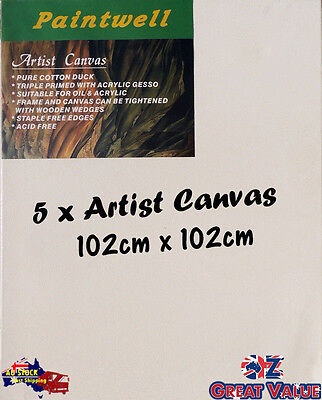 5 x Blank Artist Stretched Canvas 102X102cm Heavy Duty 38mm Thick - SCS-4040B