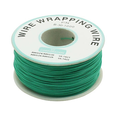 P/N B-30-1000 Insulated PVC Coated 30AWG Wire Wrapping Wires Reel 656Ft Green