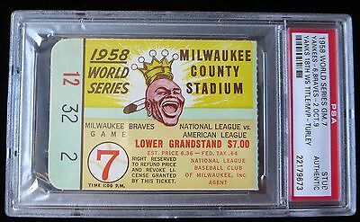 1958 World Series Game 7 Clincher Ticket New York Yankees 18Th Time Ws Champions