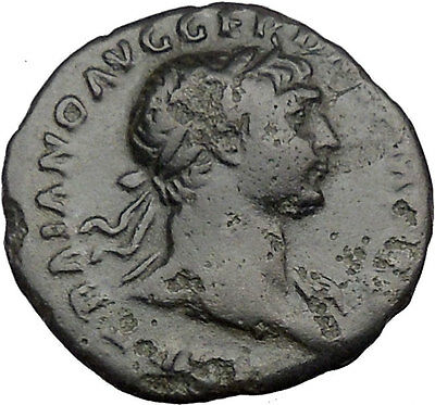 TRAJAN 108AD Authentic Ancient Roman Coin ROMA wich Victory   i36463