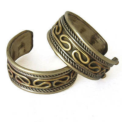 Two Adjustable Tibetan 3-color Copper Delicately Braided Amulet Ring Rings