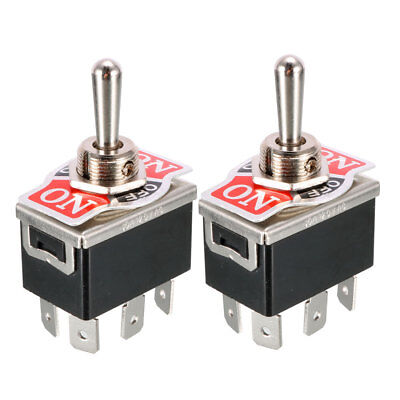 2 x Black DPDT 3 Position ON/OFF/ON Momentary 6 Terminals Toggle Switch