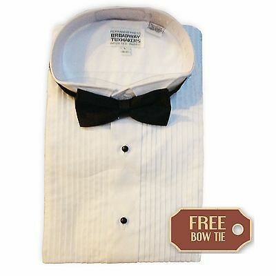 Mens Tuxedo Shirt, Pleated, Formal Wing Collar- FREE BOW TIE- NEW-ALL SIZES
