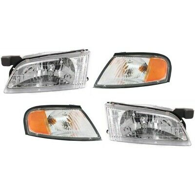 Headlights Headlamps and Corner Lights Kit LH and RH Pair Set For 98-99 Altima