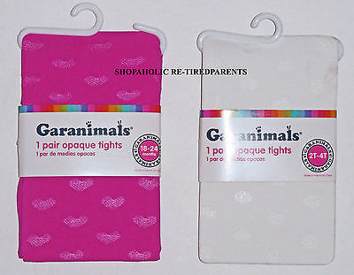 GARANIMALS TIGHTS – PINK HEART or WHITE DOT - SIZES 18/24 MO or 2T/4T– NIP