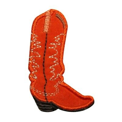 57e2cd7c3f4 ID 7336 Right Orange Cowboy Boot Patch Western Work Embroidered Iron On  Applique