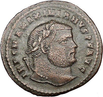 MAXIMIAN 297AD Large Ancient ROMAN Coin GENIUS Cult Protection Wealth i36446