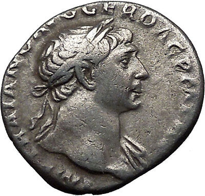 TRAJAN 115AD Very Rare Ancient Silver Roman Coin Equality Goddess Cult  i31131